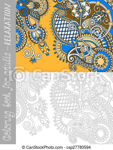 unique coloring book page for adults - flower paisley design - csp27780594