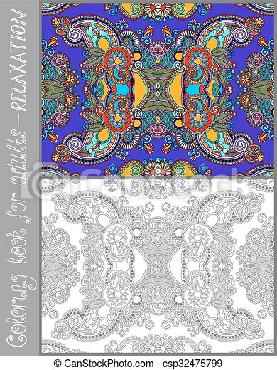 unique coloring book page for adults - flower paisley design - csp32475799