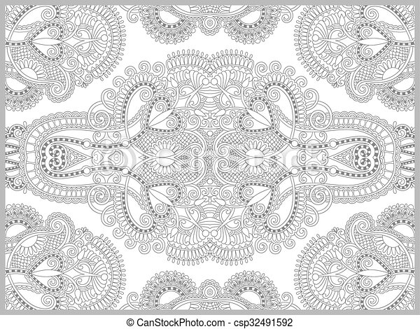 unique coloring book page for adults - flower paisley design - csp32491592
