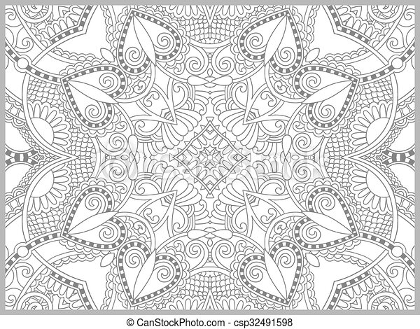 unique coloring book page for adults - flower paisley design - csp32491598