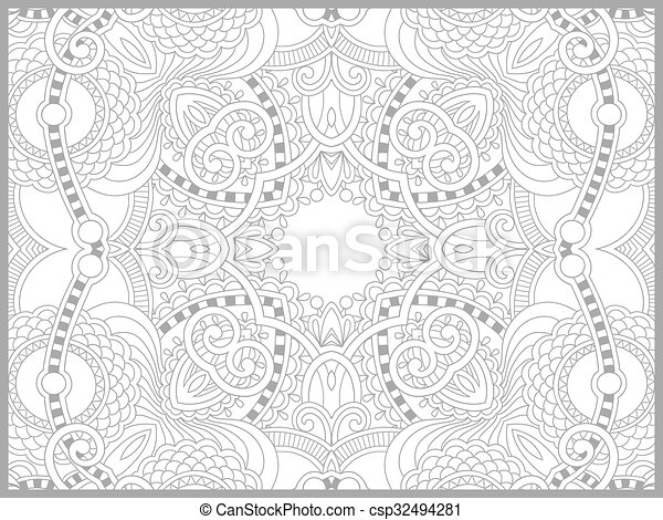unique coloring book page for adults - flower paisley design - csp32494281