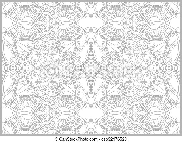 unique coloring book page for adults - flower paisley design - csp32476523