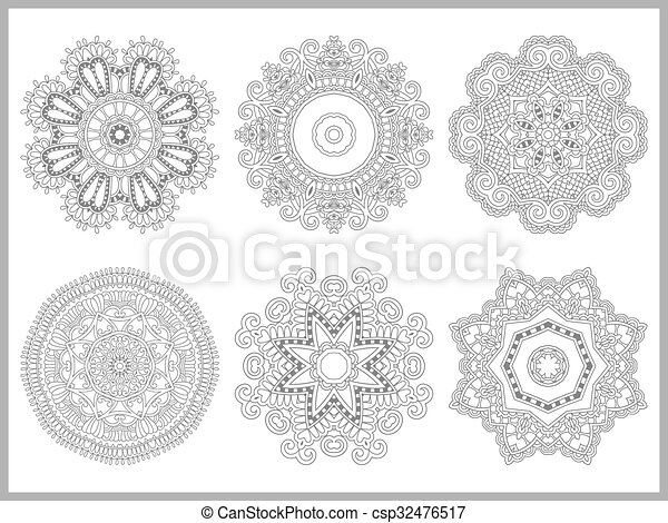 unique coloring book page for adults - flower paisley design - csp32476517