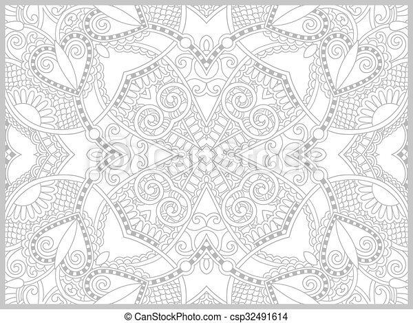 unique coloring book page for adults - flower paisley design - csp32491614