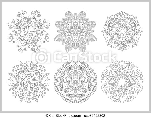 unique coloring book page for adults - flower paisley design - csp32492302