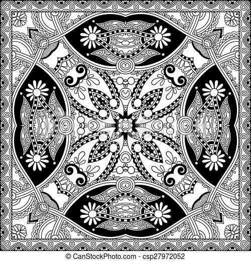 unique coloring book square page for adults - floral authentic c - csp27972052