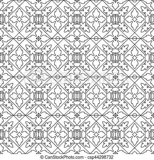 Unique coloring book square page for adults - seamless... vectors ...