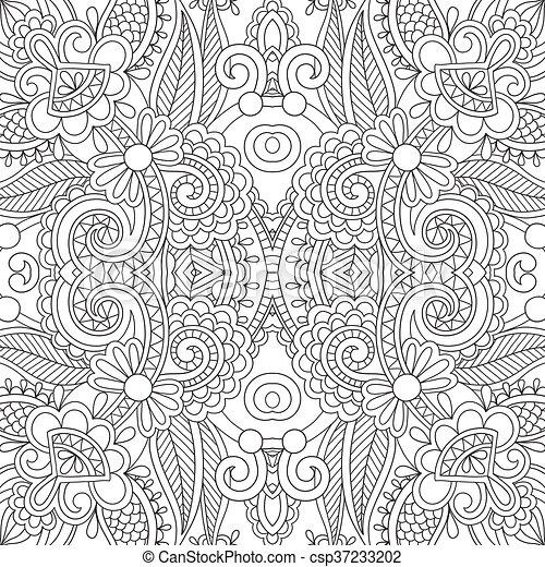 vector unique coloring book square page for adults floral authentic c - Unique Coloring Books
