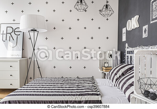 unique, femme, idée, chambre à coucher