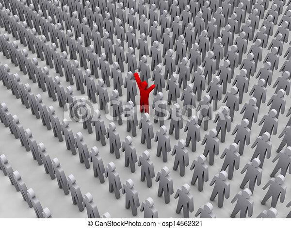 unique person in crowd. . Unique person in crowd. concept 3d ...