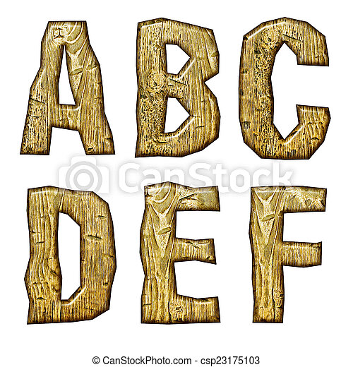 Unique woody letters set isolated on white. - csp23175103