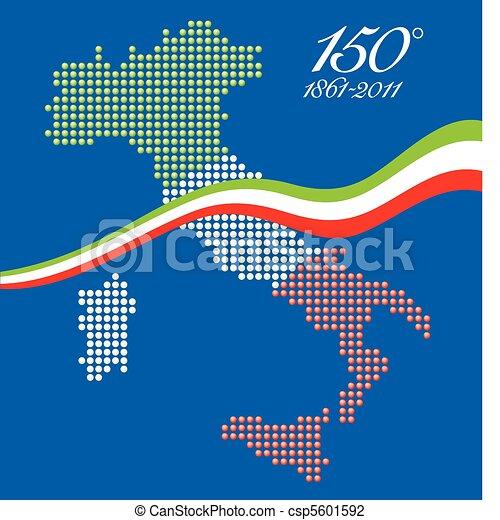 Carte Anniversaire Italien.Unite 150th Anniversaire Italien Carte Graphique Italie