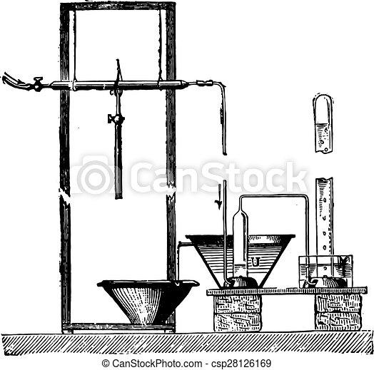 Unit of Sainte-Claire Deville to separate the gas, vintage engraving. - csp28126169