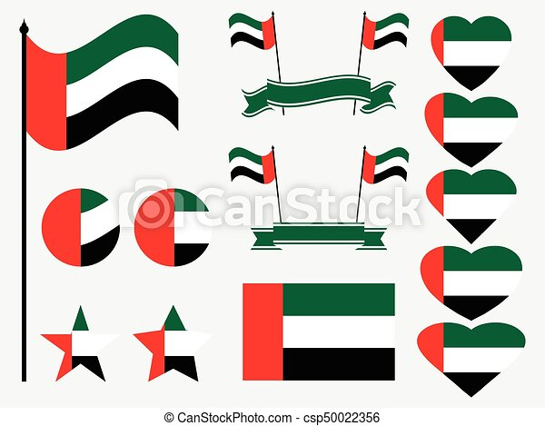 United Arab Emirates flag set. Collection of symbols, flag in heart. Vector illustration - csp50022356