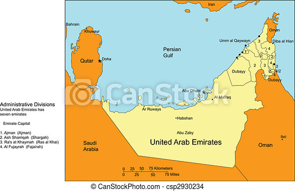 United arab emirates with cities and surrounding countries eps