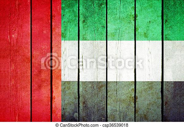 United arab emirates wooden grunge flag. - csp36539018