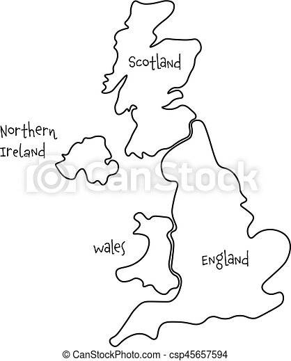 Blank Map Of England Scotland And Wales.United Kingdom Aka Uk Of Great Britain And Northern Ireland Hand Drawn Blank Map Divided To Four Countries England Wales Scotland And Ni