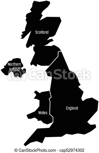 United Kingdom Aka Uk Of Great Britain And Northern Ireland Map Divided To Four Countries
