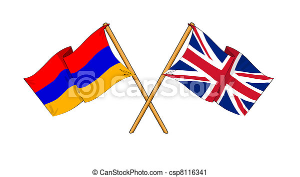 United Kingdom and Armenia alliance and friendship - csp8116341