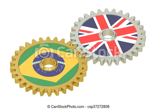 United Kingdom and Brazil relations concept, flags on a gears. 3D rendering - csp37272808