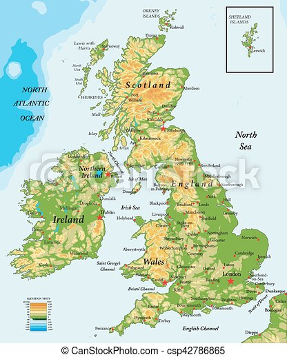 Map Of Uk And Ireland With Cities.United Kingdom And Ireland Physical Map