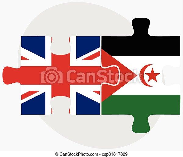 United Kingdom And Western Sahara Flags