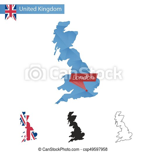 United Kingdom London Map.United Kingdom Blue Low Poly Map With Capital London