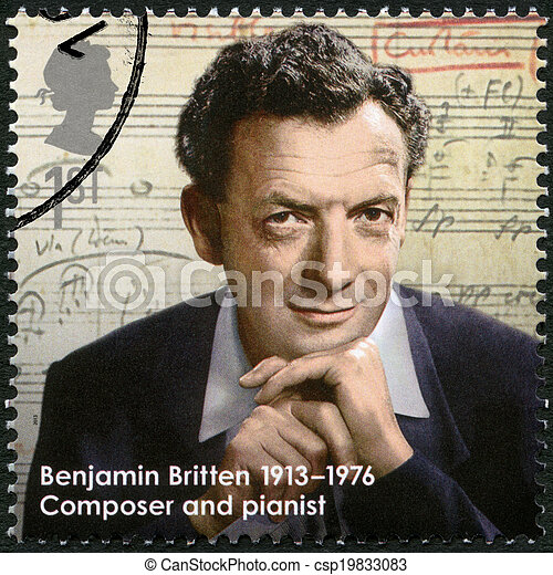 UNITED KINGDOM - CIRCA 2013: A stamp printed in United Kingdom shows Benjamin Britten (1913-1976), composer, series Great Britons, circa 2013 - csp19833083