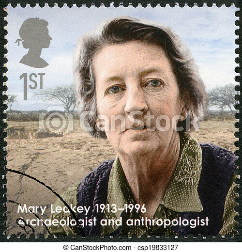 UNITED KINGDOM - CIRCA 2013: A stamp printed in United Kingdom shows Mary Leakey (1913-1996), archaeologist and anthropologist, series Great Britons, circa 2013 - csp19833127