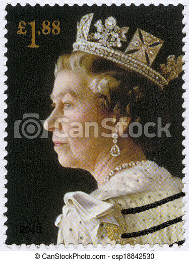 UNITED KINGDOM - CIRCA 2013: A stamp printed in United Kingdom shows Portrait of Queen Elizabeth II, the 60th anniversary of the Coronation of Her Majesty, circa 2013 - csp18842530