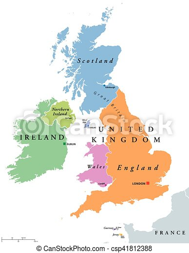 Map Of England Wales Scotland.United Kingdom Countries And Ireland Political Map