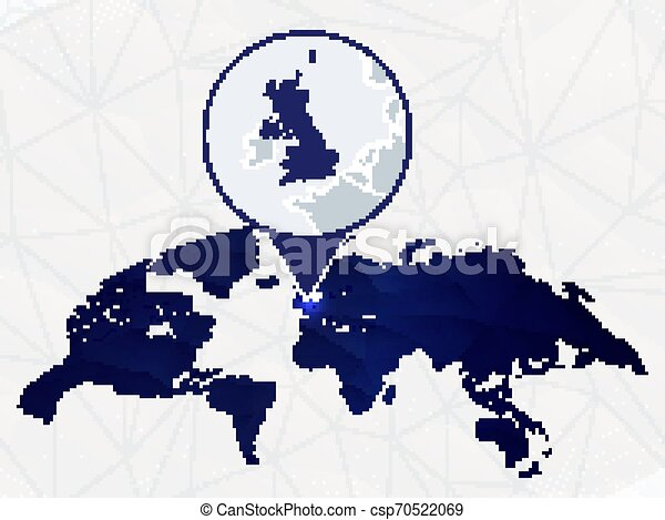 United Kingdom Detailed Map Highlighted On Blue Rounded World Map Map Of Uk In Circle