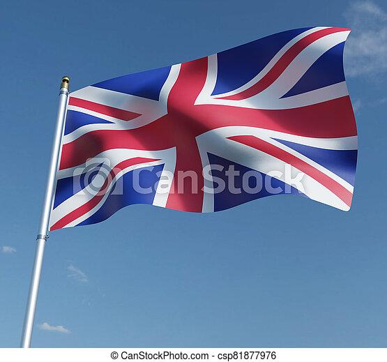 United Kingdom flag 3D illustration on blue sky background. 3D rendering illustrations. - csp81877976