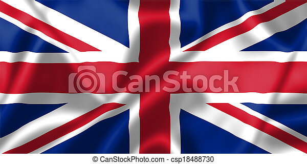 United Kingdom flag blowing in the wind - csp18488730