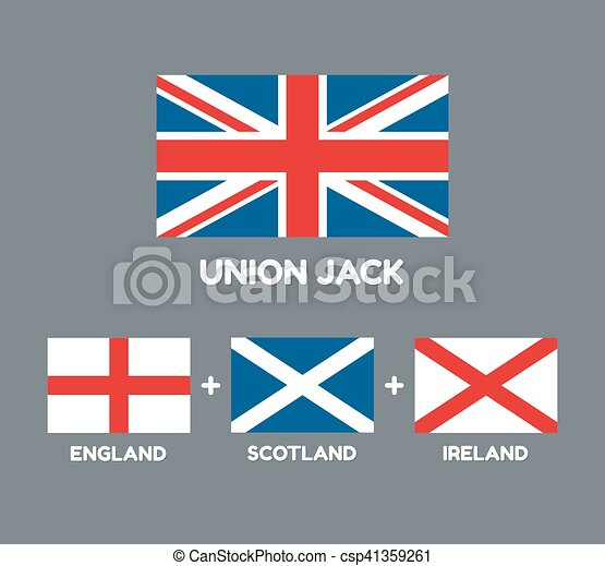 United Kingdom Flag Union Jack With Three Flags That Comprise It