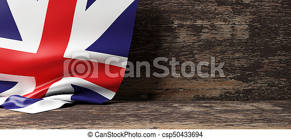 United Kingdom flag on wooden background. 3d illustration - csp50433694