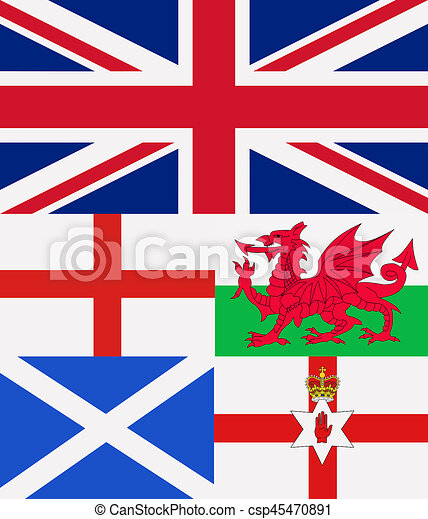 Illustration Of All The Countries Of United Kingdom Flags