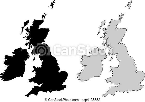 United Kingdom Map Black And White Mercator Projection Vector - United kingdom map vector