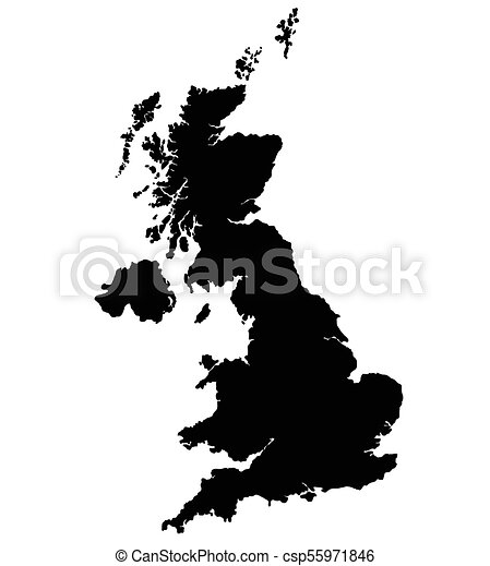 Map Of Uk Black And White.United Kingdom Map Vector Silhouette Isolated On Black