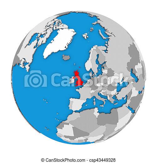 Uk In Map Of The World.United Kingdom On Globe