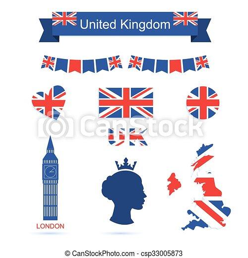 United Kingdom Symbols Uk Flag Icons Set United Kingdom Symbols