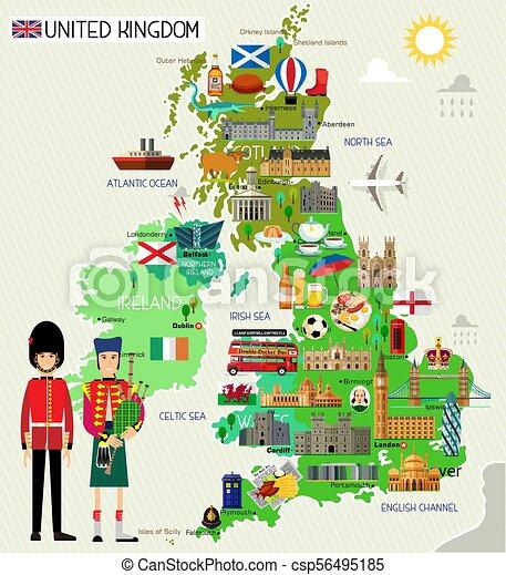 United Kingdom Travel Map. Vector Illustration. on australia illustration, london illustration, singapore illustration, tv illustration, chile illustration, italy illustration, thailand illustration, africa illustration, china illustration, dj illustration,