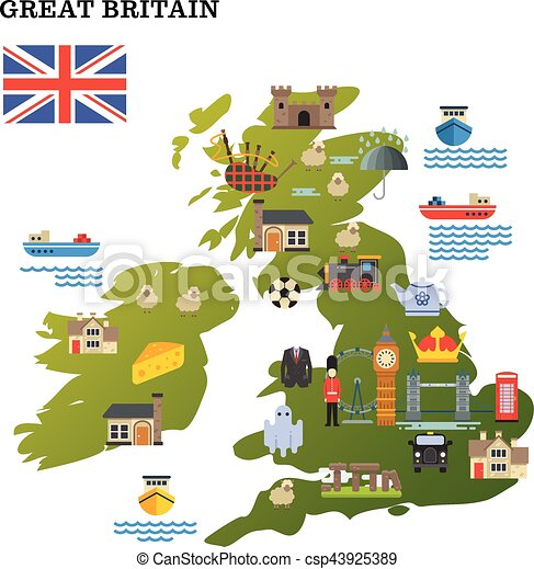 United Kingdom Travel Map With Landmark Icons Vector Vector - United kingdom map