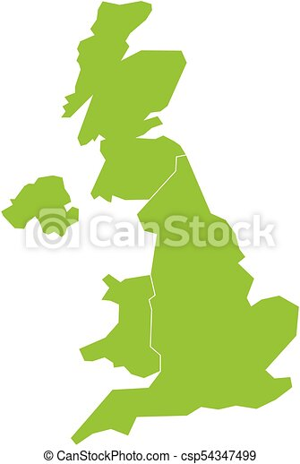 United Kingdom Uk Of Great Britain And Northern Ireland Map Divided To Four Countries