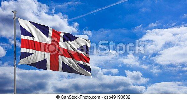 United Kingdom waving flag on blue sky. 3d illustration - csp49190832
