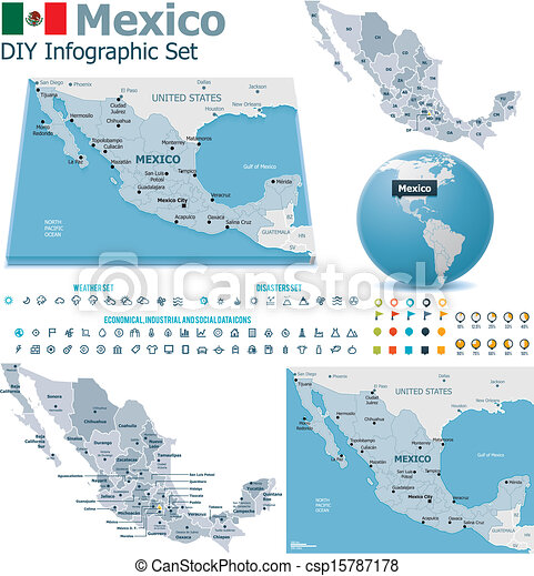 United mexican states maps. Set of the political mexico maps ...