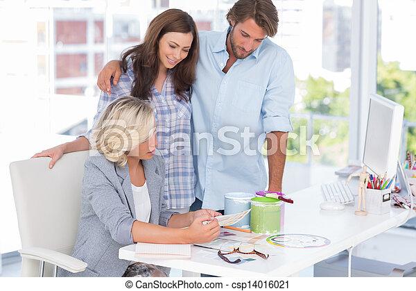 United smiling team of interior designer - csp14016021