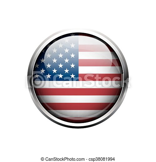 United State of America flag on button. - csp38081994