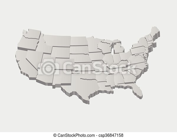 United States 3D Vector Map - csp36847158