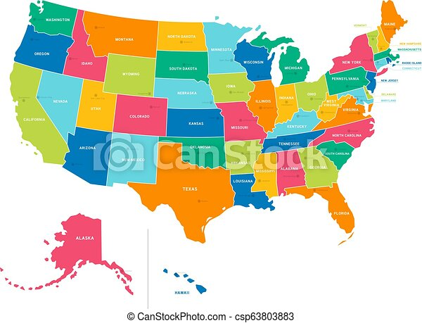Political Map Of America States.United States Bright Colors Political Map